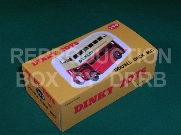 Dinky #290 (29c) Double Decker Bus - Reproduction Box ( Red and Cream )
